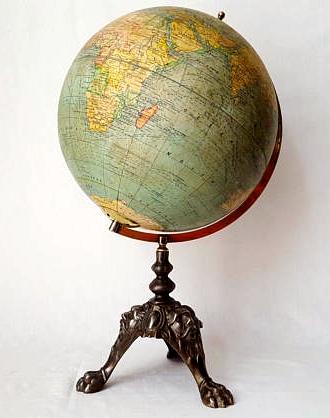 Globe, world map Girard Barrère & Thomas circa 1920