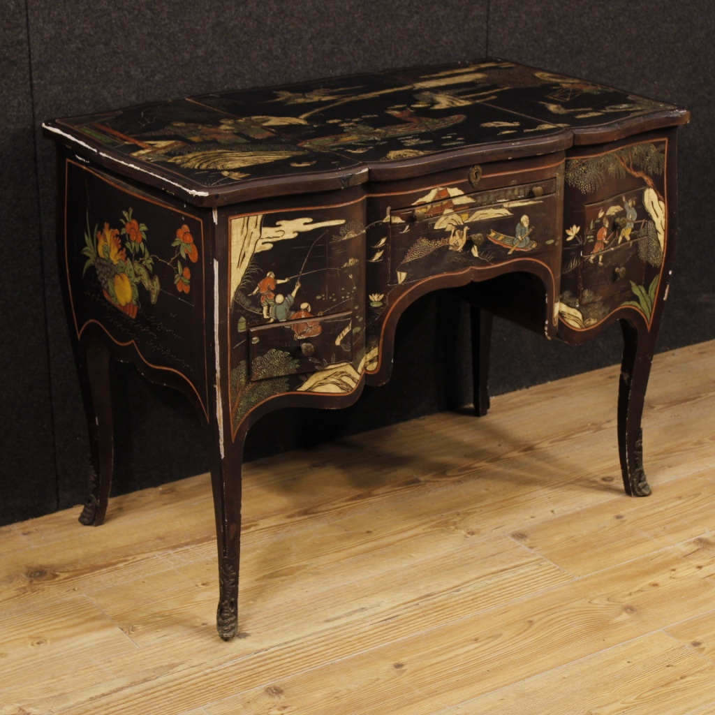 French dressing table in lacquered chinoiserie wood
