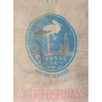 Art Nouveau Art Deco La Potasse d'Alsace decorative bag to frame The rare Stork of the time