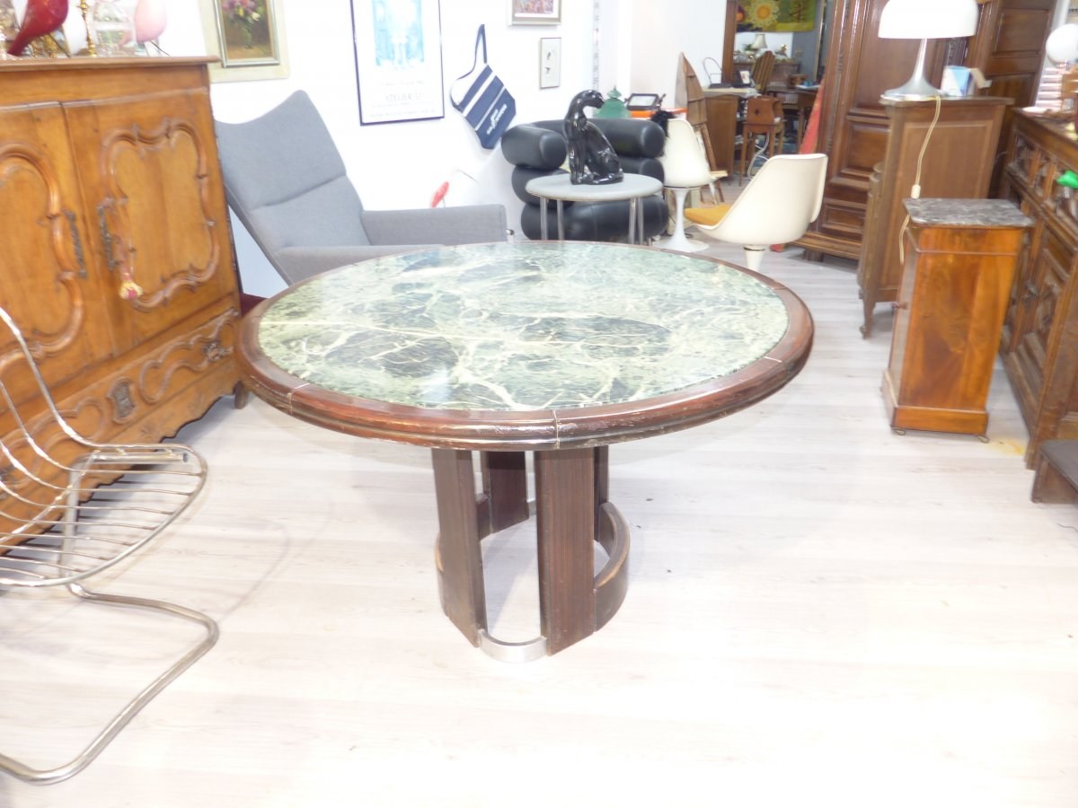 Round dining table Steel Marble And Macassar XX th Modernist 1960s art deco style