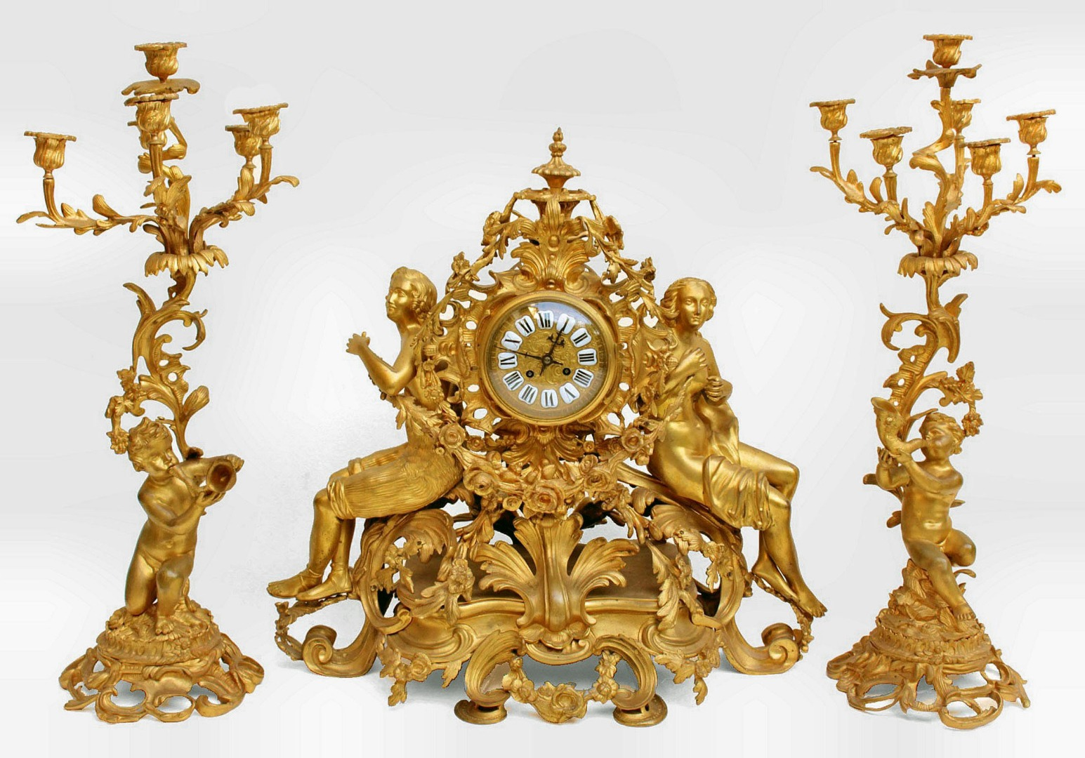 NAPOLEON III PERIOD MANTLE GARNITURE
