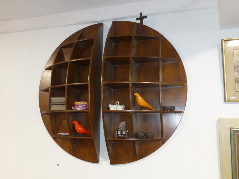 Pair Of Continental Shelves Joe Colombo Solid Walnut Circa 70 's XX Eme Deco Vintage Design