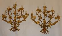 1880 'Pair Of Wall Lights Gilded Bronze Decor Floral 5 Arms Of Light
