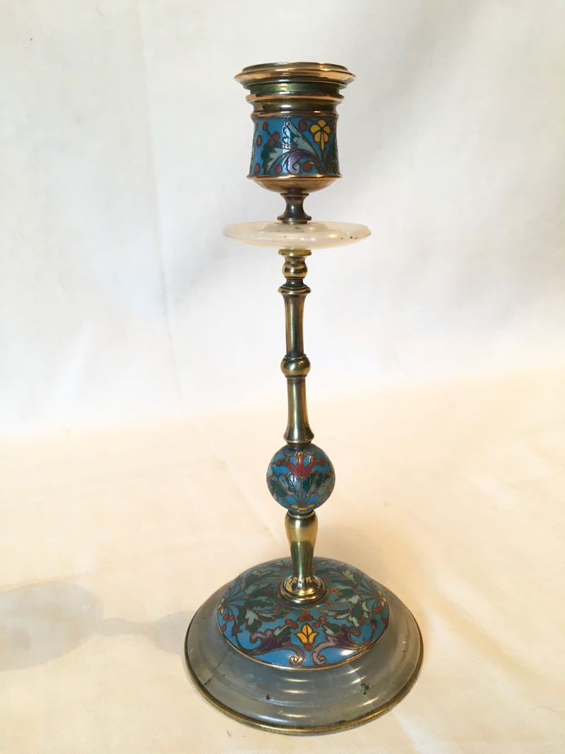 NAPOLEON III ENAMELLED CANDLE HOLDER SIGNED BARBEDIENNE