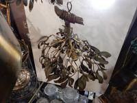 1900'  Ball of Mistletoe Art Nouveau Bronze has 5 Bulbs and Pearls Opaline  Diameter 50 cm