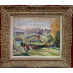 CHARRETON Victor Post-impressionist painting early 20Th century View of a village Oil on canvas signed
