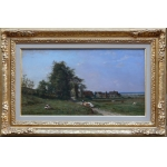 GUILLEMER Ernest French painting XIXTh century Barbizon school Herd on the way Oil on panel signed