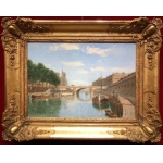 FRANK BOGGS American School 20Th Century Paris Notre Dame and La Seine Oil on canvas signed