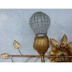 1970' Wall Lamp With Glass Leaves in the Style of Maison Bagués Or Banci