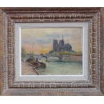 Madelain Gustave Impressionist Painting 19Th Century Notre Dame and Barges in Paris Oil Signed On The Back