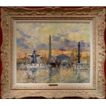 SALABET Jean Painting 20th Century Paris Animation Place Of The Concorde Oil On Canvas Signed