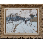 MONTEZIN Pierre Eugène Painting 20Th century Snow at Saint Germain sur Avre Post-Impressionist painting Oil on paper mounted on canvas signed