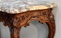 Important console Louis XV to 4 feet - nineteenth